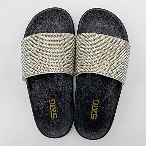 Fashion Symphony Rhinestone Zapatillas Planas Mujer Verano Prendas de Abrigo Moda Flip Flop Sandals-Black_36