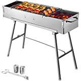Happybuy Folded Portable Charcoal BBQ Grill,34x8 inches Outdoor Barbecue Camping Grill,Stainless Steel Kebab Grill, Folding Grill, Perfect for Home Ourdoor Travel Use