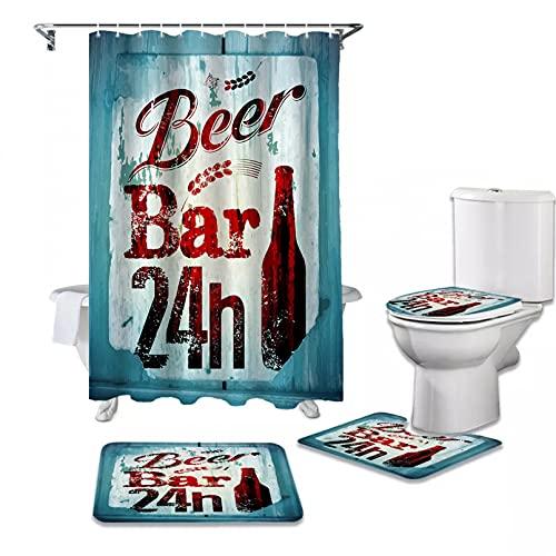ZSYNB Juego de cortinas de ducha con diseño de alfabeto, diseño retro y estampado de botella de cerveza, para decoración del hogar