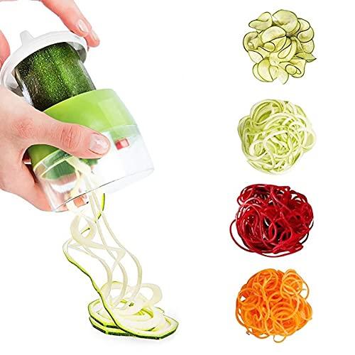 KNMY - Cortador en espiral manual para espaguetis de verduras, 4 en 1, cortador en espiral para zanahoria, pepino, patata, calabacín
