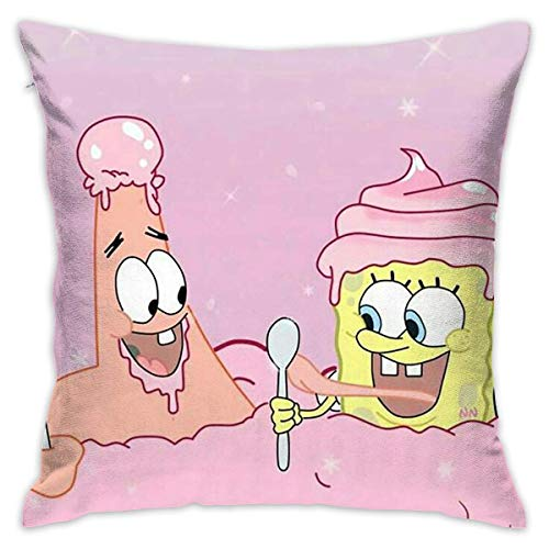 Gypsophila Pillow Cover Cushion Cover Spongebob and Friends Decorative Pillow Case Sofa Seat Car Pillowcase Soft 18x18 Inch