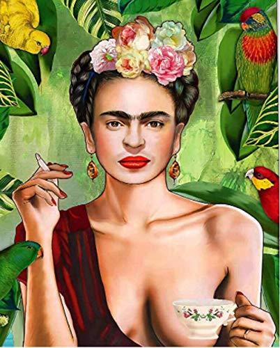 Pintar Por Números Para Adultos Pintora Mexicana Frida Parrot Adultos Niños Para Diy Pintura Por Números Con Pinceles Y Pinturas Decoraciones Para El Hogar Sin Marco De 40 x 50 cm