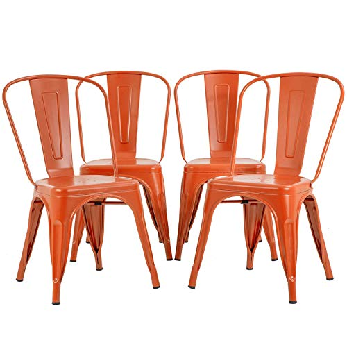 Metal Dining Chairs Set of 4 Indoor Outdoor Chairs Patio Chairs 18 Inch Seat Height Metal Chairs 330LBS Weight Capacity Restaurant Chair Stackable Chair Trattoria Tolix Side Bar Chairs