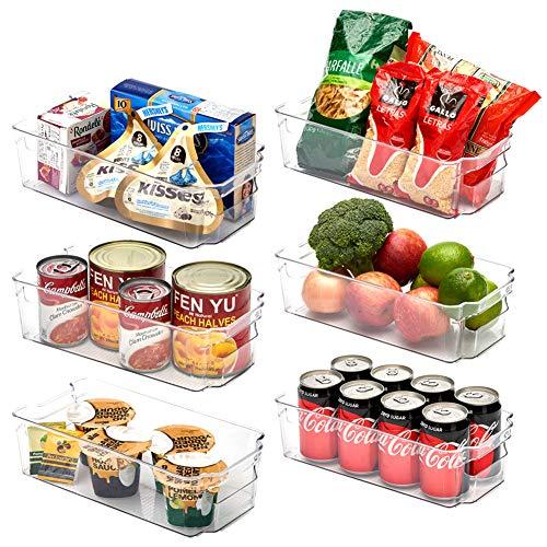 EZOWare 6er Set Durchsichtig Aufbewahrungsbox, Küchenorganizer Aufbewahrung Organizer für Kühlschrank, Gefrierschrank, Vorratsschrank, Schrank, Badezimmer - Mittel, 31.5 x 16 x 9 cm