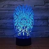 3D Lámpara óptico Illusions Luz Nocturna, Cabeza del cráneo de plumas 7 Colores Cambio de Botón Táctil y Cable USB Para dormitorios y decoración de novedad de oficina.