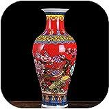 Antiguo esmalte de porcelana de cola de pescado en forma de jarrn chino grande al Decoracin Jarrones antiguos Jarrones, longevityvase amarillo, tamao: un tamao, color: amarillo Peony florero