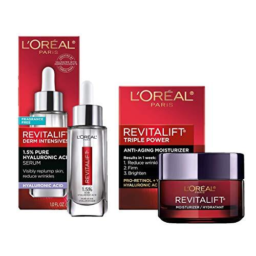 L'Oreal Paris Skincare Revitalift Derm - Suero de ácido hialurónico para la piel, suero facial de ácido hialurónico puro al 1.5%, cuidado para la piel, humecta, hidrata, rellena la piel, reduce las arrugas, suero antienvejecimiento, 1 oz