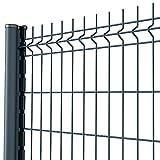 Amagabeli Grillage clôture Rigide soudé Kit de 20m Hauteur 1230mm avec Panneau Rigide et Piquets de clôture Galvanisée Enduit EP Utilisation pour Les Jardins Maisons Fermes Gris RAL7016