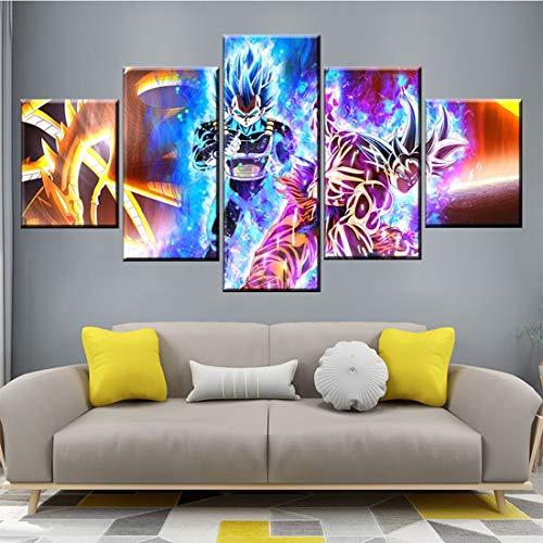 HSART 5 Pieces HD Cartoon Pictures Dragon Ball Super Anime Poster Ultra Instinct Goku Picutres Canvas Paintings Wall Art,A,20x30x2+20x50x1+20x40x2