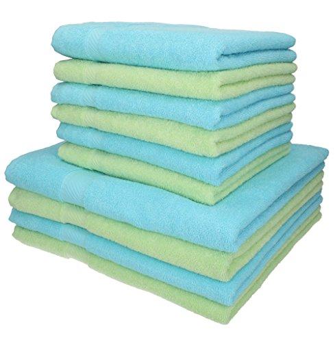 Betz Set di 10 Asciugamani da Bagno Palermo: 6 Asciugamani e 4 Asciugamani da Bagno, 100% Cotone, Colore Verde e Turchese