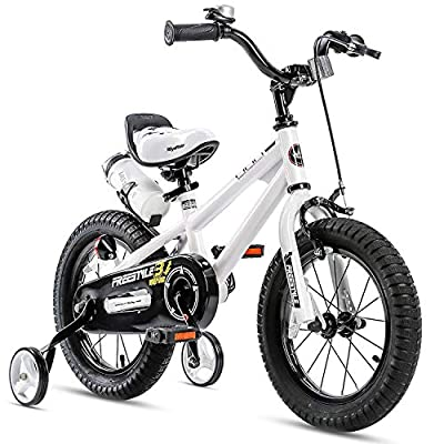 RoyalBaby Kids Bike Boys Girls Freestyle BMX Bicycle with Training Wheels Gifts for Children Bikes 14 Inch White