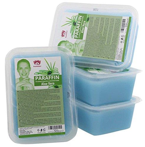 Kosmetex Paraffin-wachs, Paraffinbad Wachs mit niedrigeren Schmelzpunkt mit Aloe Vera Extrakt (4x 500ml)