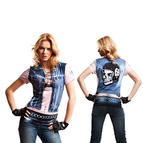 viving Kostüme viving costumes231121 Motor Biker Girl Short Sleeve T-Shirt (groß)