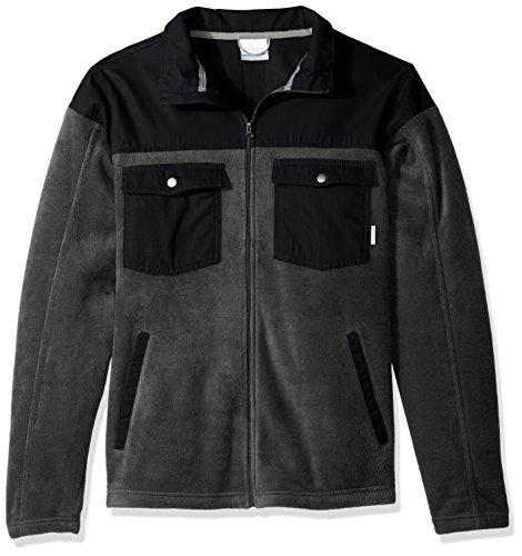 Columbia Men's Big and Tall Cascades Explorer Full Zip Fleece Jacket, Charcoal Heather, Black, Small