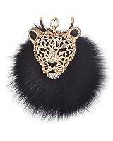 Leopard with Black Fox Fur Pom Pom Keychain for Women Giftale Ball Bag Charm