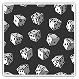 Impresionantes pegatinas cuadradas (juego de 2) 10 cm BW – patrón de dados de la suerte para ordenadores portátiles, tabletas, equipaje, reserva de chatarras, frigoríficos, regalo fresco #36811