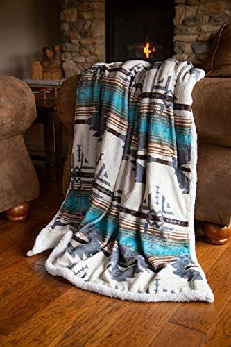 Wrangler Lone Mountain Southwestern Sherpa Throw Blanket 54 x 68 product image