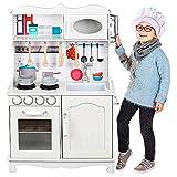 Kinderplay Kinderküche Spielküche Holz - Kinderküche Weiss holz, Im Vintage Design mit Licht, Küche aus Holz, Spielküche für Kinder, Ganze höhe 100 cm, Arbeitsplatte beträgt hoch 50 cm, GS0052