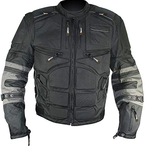 Xelement CF5050 'Morph' Men's Black and Grey Cordura Armored Jacket with Removable Sleeves - X-Large