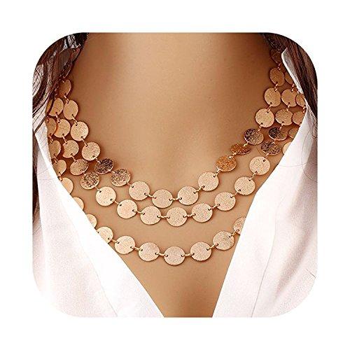 Mehrschichtige Halskette für Damen von Xcsskg. mit Münzblättern im Statement-Stil, stabiler Halsreif im Choker-Stil goldfarben