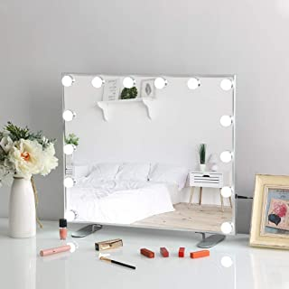 FENCHILIN Lighted Makeup Mirror Hollywood Mirror Vanity Makeup mirror with Light Smart Touch Control 3Colors Dimable Light Detachable 10X Magnification