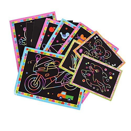 Scratch Art Kit, 30 Sheets Rainbow Color Scratch Off papier in een Kladblok Wood Stylus, Perfect Gift van het Nieuwjaar, Activiteit voor het vliegtuig of met de auto