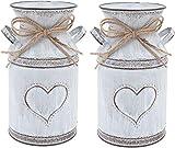 Vintage vaso fiore vaso cuore latte può stirare flowerpot shabby deco decoro casa vaso rustico boom floreale tappo in metallo secchio per giardino balcone soggiorno tavolo decorazioni 2 pz,Herz muster