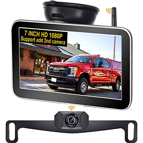 AMTIFO AM-W70 HD 1080P Wireless Backup Camera for Truck with 7 Inch Monitor,Car Bluetooth Rear View Camera Kit with Digital Stable Signal,Support Add 2nd RV/Licence Plate Camera,DIY Guide Lines