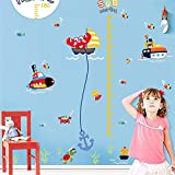 Etiqueta de la pared Nursery Altura Crecimiento Gráfico Niños Niños Niñas Mar Submarino Peces de Acuario Decorativo Bricolaje Decoración Para El Hogar Tatuajes de carteles