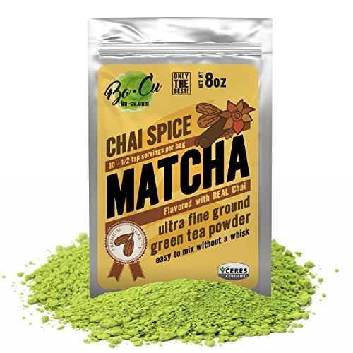 Chai Flavored Organic Matcha Green Tea Powder - 80 Servings, 8 oz - 2 Ingredients, Natural Flavored Instant Tea for Drinking, Smoothies or Baking, Grade A Matcha
