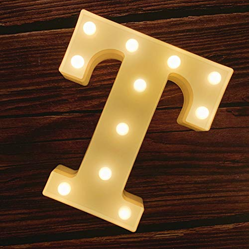 MUMUXI LED Marquee Letter Lights 26 Alphabet Light Up Marquee Number Letters Sign for Wedding Birthday Party Battery Powered Christmas Lamp Night Light Home Bar Decoration (T)