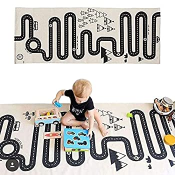 LISIBOOO Cotton Crawling Blanket,Play Games Floor Mat Road Adventure Racing Carpet,Kids Long Pad for Bedroom Playroom Classroom Indoor,69x27inch Rectangle Area Rugs