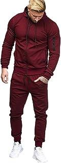 Men Patchwork Zipper Sweatshirt Top Pants Sets Sports Suit Tracksuit Muscle Hoodie