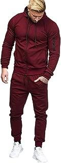 iMakcc Men Patchwork Zipper Sweatshirt Top Pants Sets Sports Suit Tracksuit Muscle Hoodie