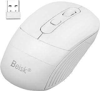 BEISK, Ratón Inalámbrico Wireless, Mouse Óptico, 2.4 GHz, 2400 dpi, 4 Botones, con Alfombrilla, Cable USB, Diseño Ergonómico, Cómodo, Ideal para PC/Mac/Portátil/Ordenador, Etc. Blanco