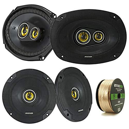 """2 Pair Car Speaker Package of 2X Kicker CSC654 600-Watt 6.5"""" Inch 2-Way Black Coaxial Speakers + 2X CSC6934 900W 6x9 CS Series 3-Way Speakers - Bundle Combo with Enrock 50 Foot 14 Gauge Speaker Wire"""