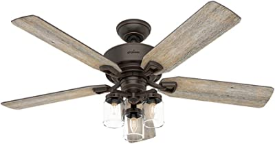 Hunter Indoor Ceiling Fan, with remote control - Devon Park 52 inch, Onyx Bengal, 54201