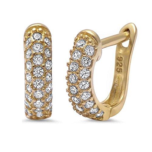 GH* KIDS 12mm Klappcreolen aus 925 Echt Silber rhodiniert mit Zirkonia Baby Mädchen Kinder Ohrringe CR27 Gold Rose (GOLD)