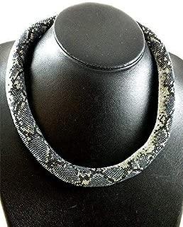 Beaded crochet necklace with grey snake skin print,beadwork choker