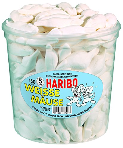 Haribo Weisse Mäuse,3er Pack (3x 1.05 kg Dose)