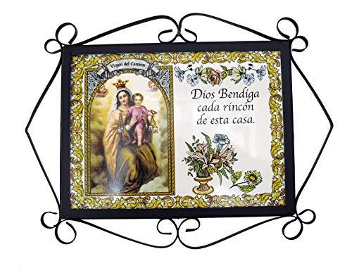 Rustiluz Azulejo Virgen del Carmen Dios Bendiga Cada rincón de Esta casa con herraje