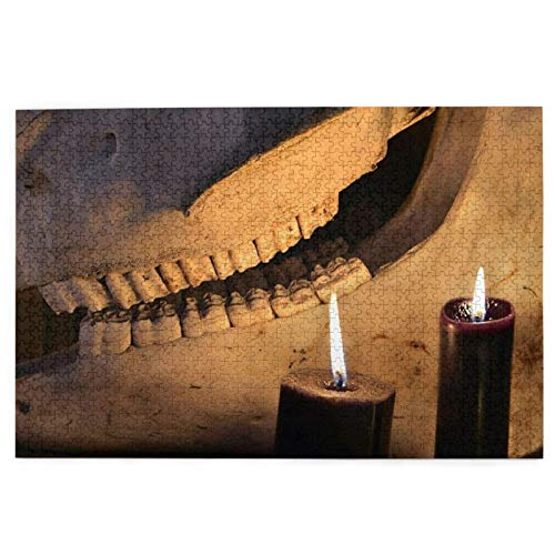 KIMDFACE Puzzles 1000 Piece Puzzle for Kids Adult Challenging Game,Horror Halloween And Black Magick Concept Scary Teeth Of Horse Skull And Two Black Candles
