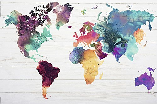 POSTER STOP ONLINE Map of The World - Watercolor Art Poster/Print (World Map) (Size 36' x 24')