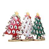 OULII In legno dell'albero di Natale fai da te del fumetto Natale ornamento regalo tavolo scrivania decorazione decorazione natalizia (bianco)
