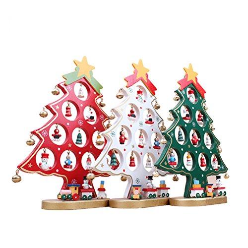 OULII Árbol de Navidad de madera bricolaje dibujos animados navidad ornamento regalo mesa escritorio decoración decoración de la Navidad (blanco)