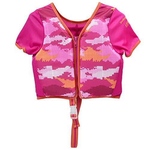 Swimschool ET9143SM Swim Trainer Vest with Sun Protective Sleeves, Adjustable Safety Strap, Small/Medium, up to 33 Lbs., Pink, Pink Digital Â- S/M Size Up to 33 Lbs., 20 - 30 lb.