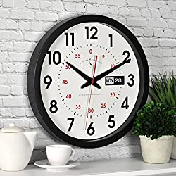 FirsTime & Co. Day Date Wall Clock, American Crafted, Black, 14 x 2 x 14,