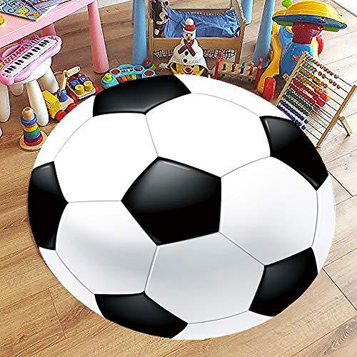 Tappeto Rotonda Moderno Soggiorno Salotto, Morbuy 3D Palla Tappeti Antiscivolo Bambini Cucina Bagno Camera da Letto Yoga Decorazione della Casa Divani e Sedie (120x120cm,Calcio)