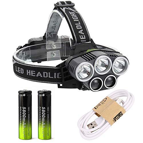 T-Buy LED Stirnlampe Kopflampe, USB Wiederaufladbare Wasserdicht Sstirnlampen mit Super Bright 5 LED, 6 Modi wasserdichte Taschenlampe Scheinwerfer, für Outdoor Camping Radfahren Laufen Angeln