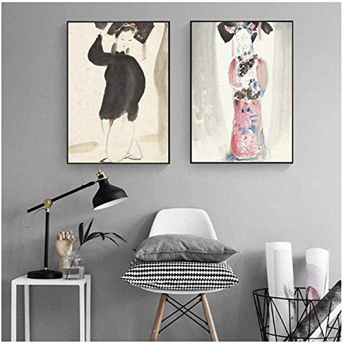 Impresiones en lienzo pintura estilo antiguo disfraz mujeres belleza imagen cartel pintura pared arte sala de estar decoracin del hogar2x50x70cm sin marco